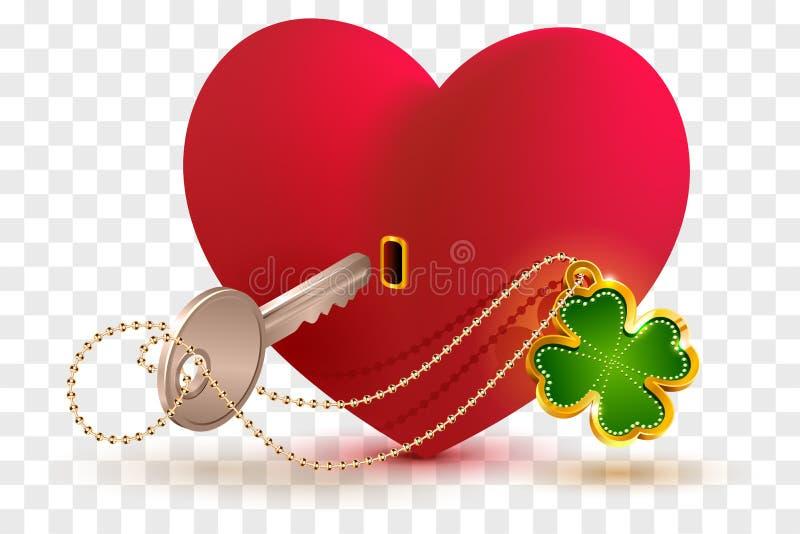 Röd hjärta format lås och tangent med lycklig bladväxt av släktet Trifolium vektor illustrationer