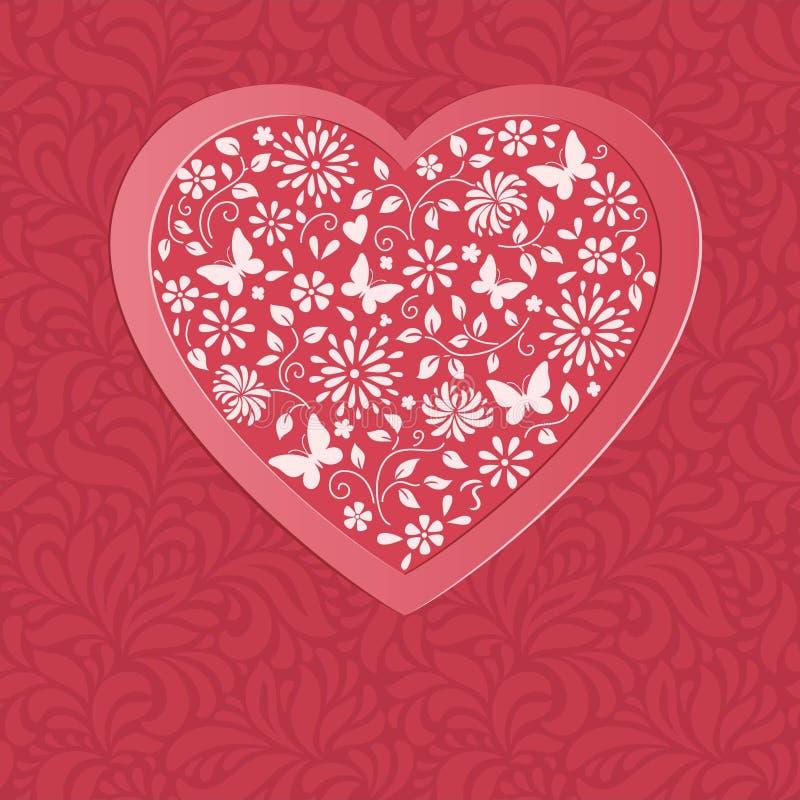 Röd hjärta från blommor royaltyfri illustrationer