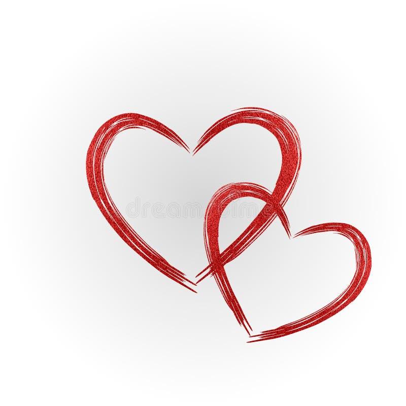 Röd hjärta Grungestämplar Förälskelseform för din design royaltyfri illustrationer