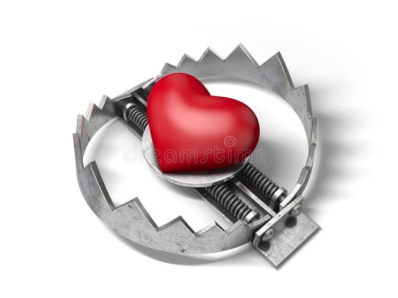 Röd hjärta i björnmetallfällan royaltyfri illustrationer