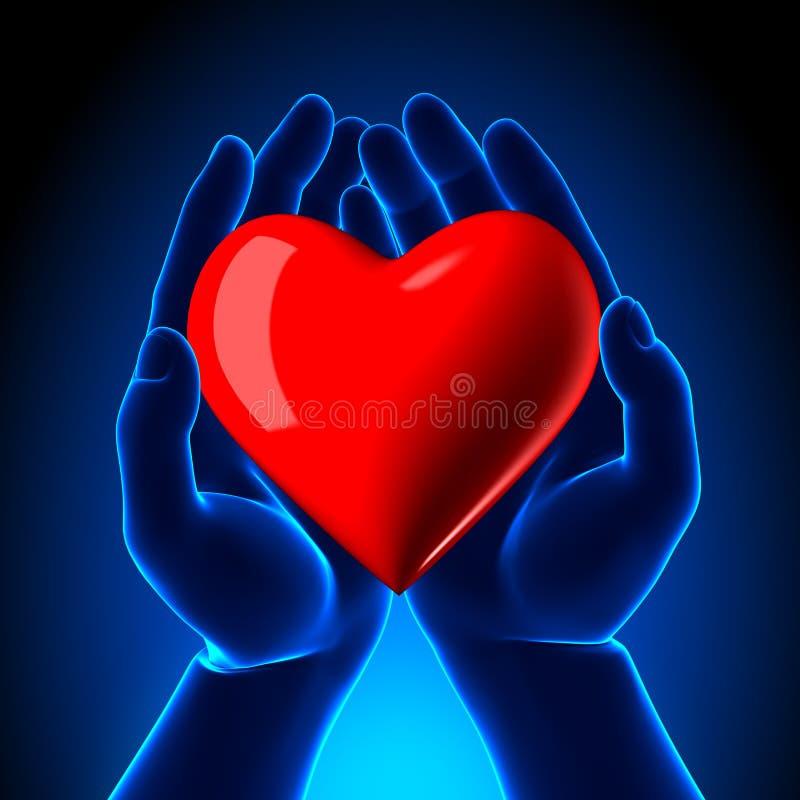 Röd hjärta i händer royaltyfri illustrationer