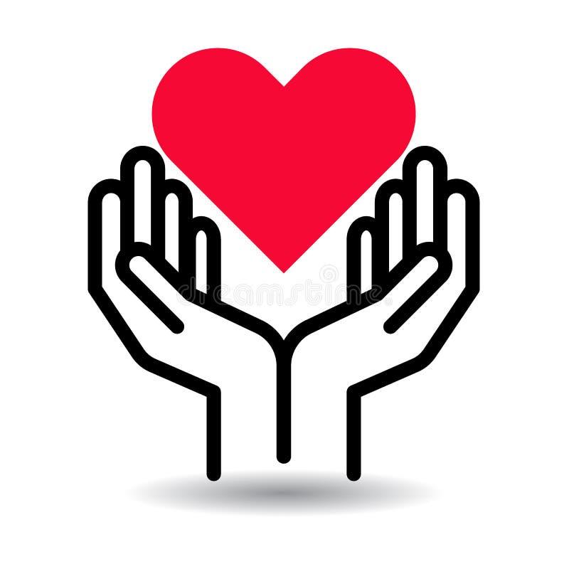 Röd hjärta i handsymbol stock illustrationer