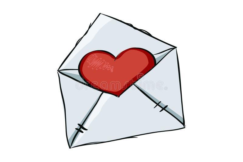 Röd hjärta i kuvertet, illustration, vektor royaltyfri illustrationer