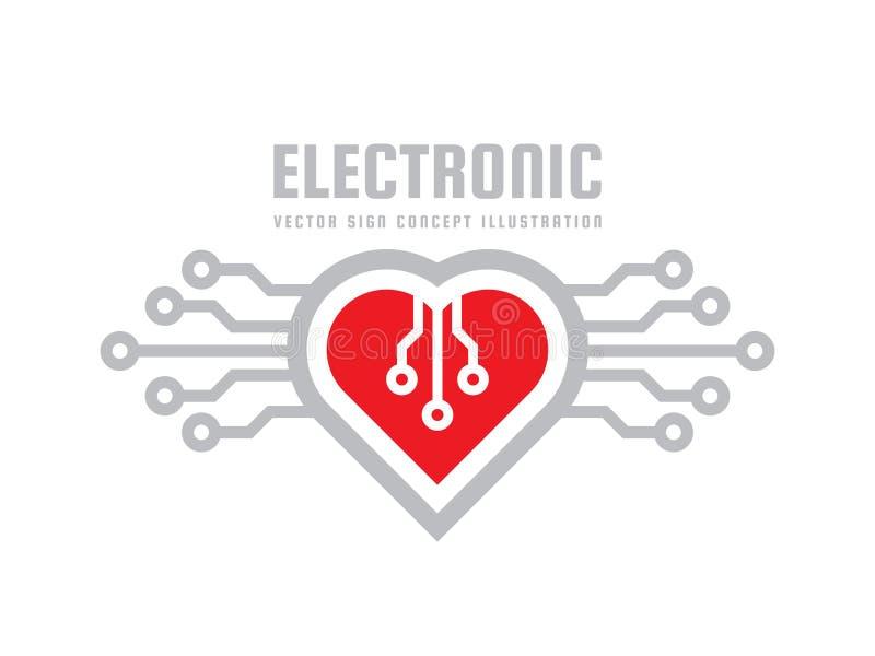 Röd hjärta - illustration för begrepp för vektorlogomall Idérikt tecken för abstrakt förälskelse Modernt medicinkardiologisymbol stock illustrationer