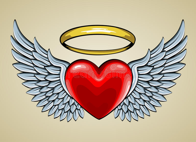 Röd hjärta med ängelvingar och gloria royaltyfri illustrationer