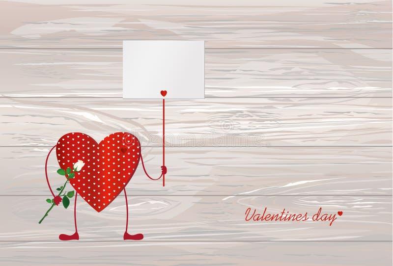 Röd hjärta med ben Händer som rymmer den tomma tomma sidan för din te vektor illustrationer