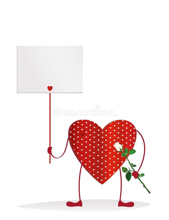Röd hjärta med ben Händer som rymmer den tomma tomma sidan stock illustrationer