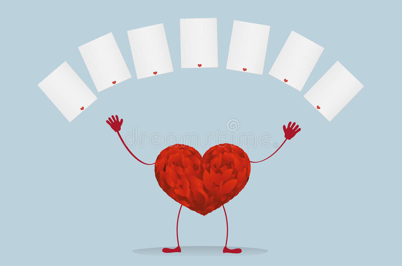 Röd hjärta med ben Lyft dina händer upp och kastade tomma mellanrum royaltyfri illustrationer
