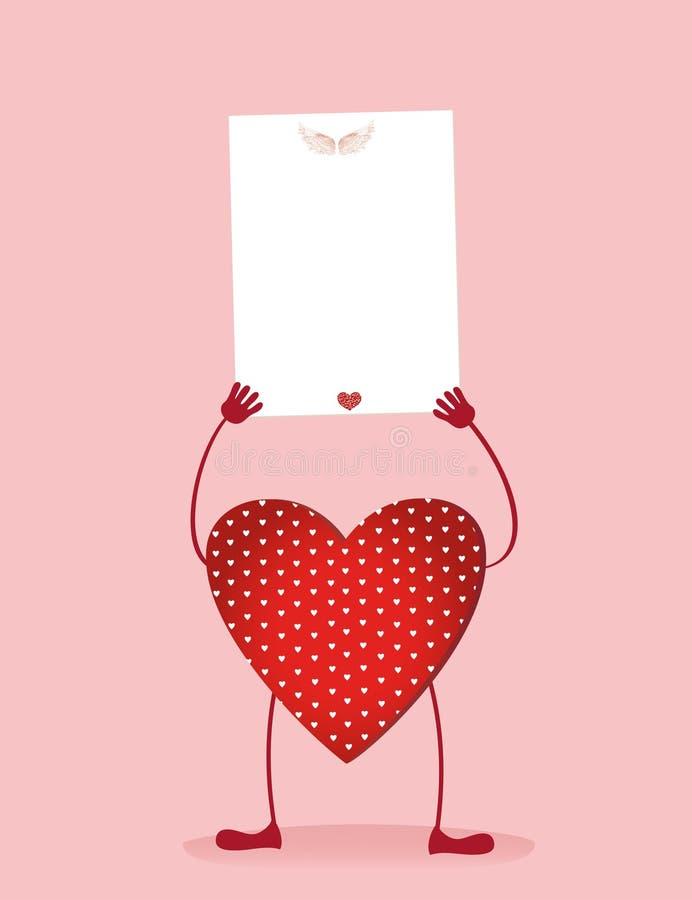 Röd hjärta med ben och händer som rymmer den tomma tomma sidan royaltyfri illustrationer
