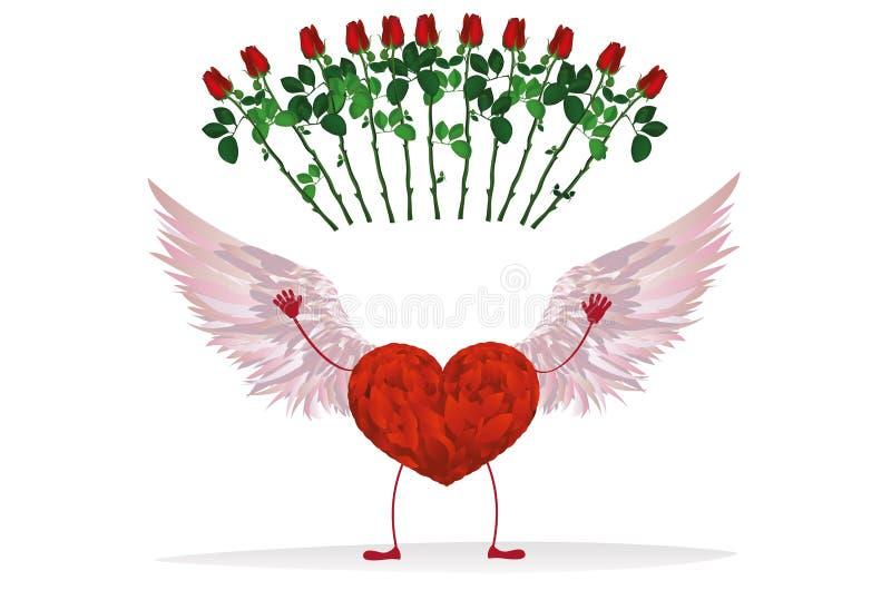 Röd hjärta med ben och härliga vingar Lyft upp dina händer stock illustrationer