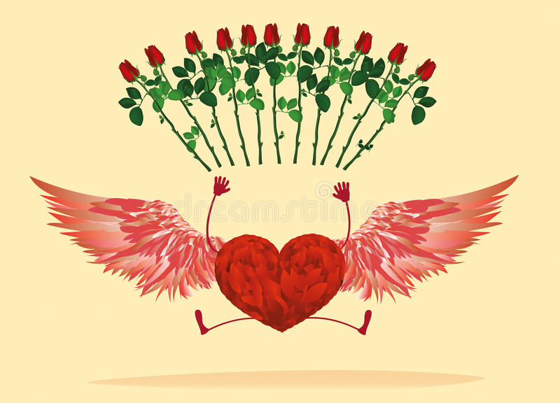 Röd hjärta med ben och härliga vingar studsat och lönelyft vektor illustrationer