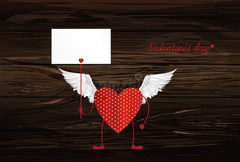 Röd hjärta med ben och vingar Händer som rymmer tomma mellanrumssidor royaltyfri illustrationer