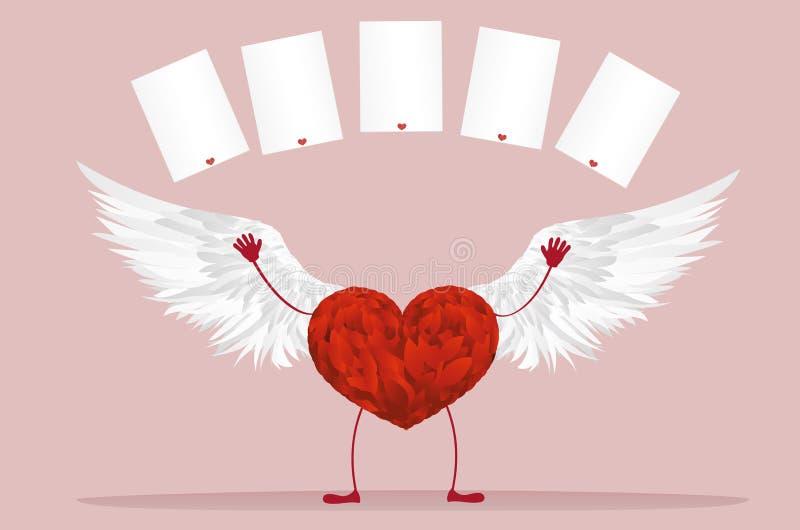 Röd hjärta med ben och vingar Lyft upp dina händer och kastade stock illustrationer