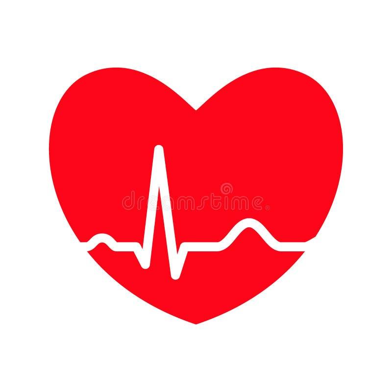 Röd hjärta med ekglinjen stock illustrationer