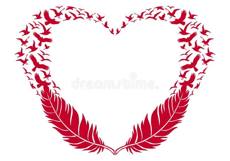 Röd hjärta med fjädrar och flygfåglar, vektor royaltyfri illustrationer