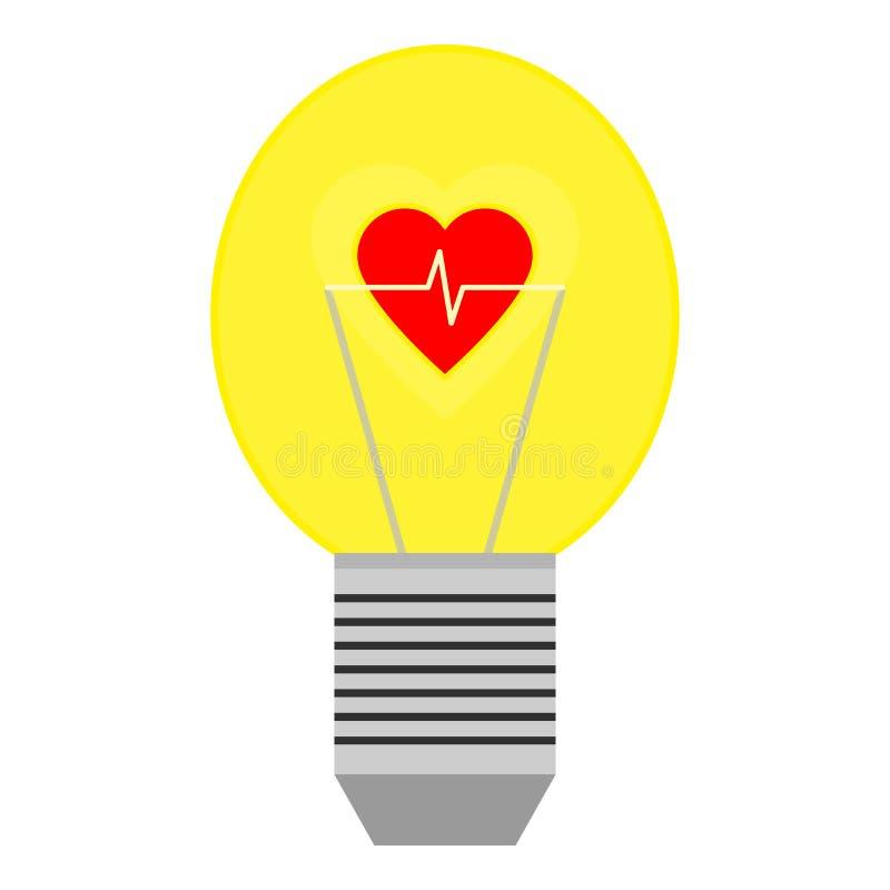 Röd hjärta med kardiogrammet i gul ljus kula vektor illustrationer