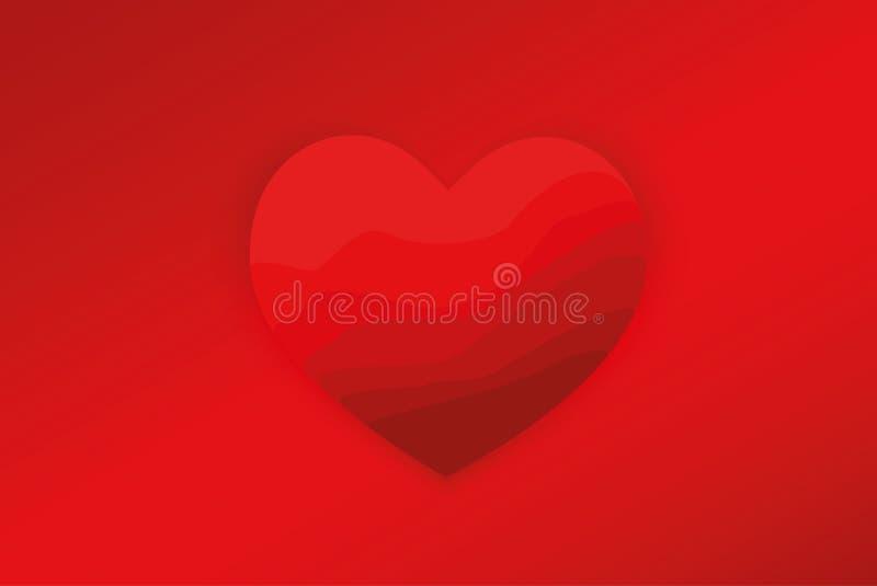 Röd hjärta med lutningbakgrund också vektor för coreldrawillustration Lyckligt begrepp för dag för valentin` s Använda som bakgru royaltyfri illustrationer