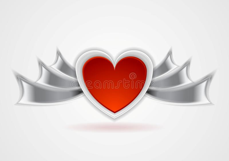Röd hjärta med metallvingar stock illustrationer