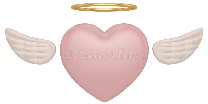 Röd hjärta med vingar som isoleras på den vita illustrationen för bakgrund 3D stock illustrationer