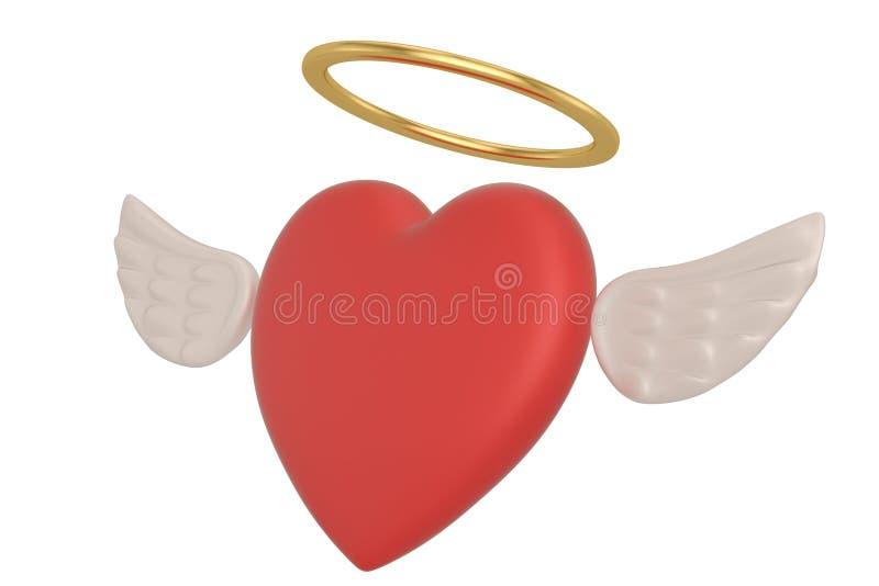 Röd hjärta med vingar som isoleras på den vita illustrationen för bakgrund 3D royaltyfri illustrationer