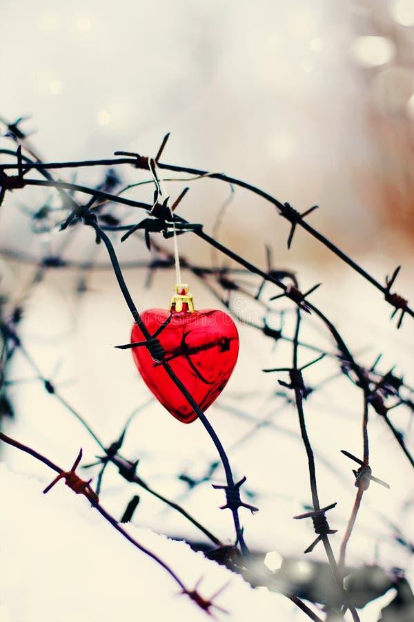 Röd hjärta och försett med en hulling - tråd royaltyfri bild