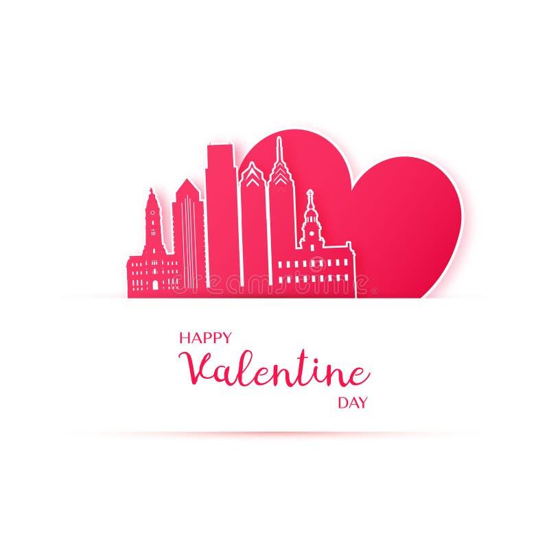 Röd hjärta och konturn av den Philadelphia staden skyler över brister klistermärkear stock illustrationer