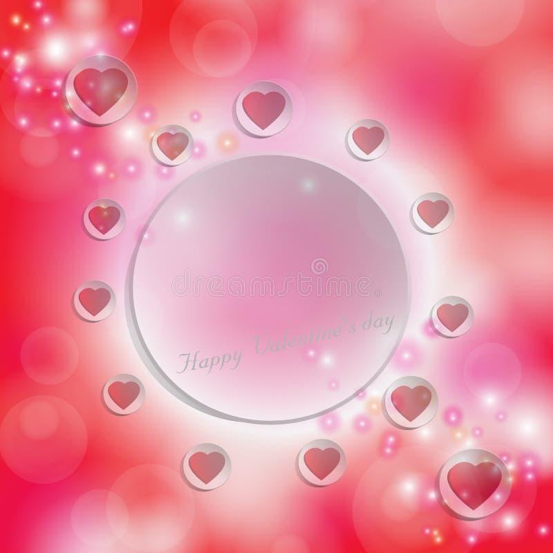 Röd hjärta på den vita cirkeln för text på en röd bokehbakgrund stock illustrationer