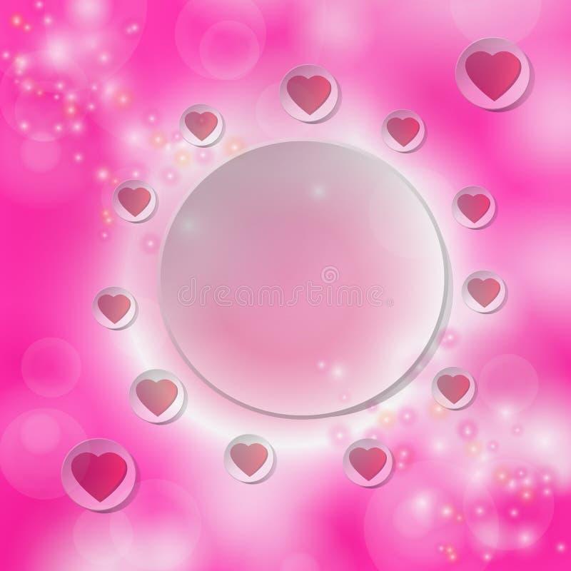Röd hjärta på den vita cirkeln för text på en rosa bokehbakgrund stock illustrationer