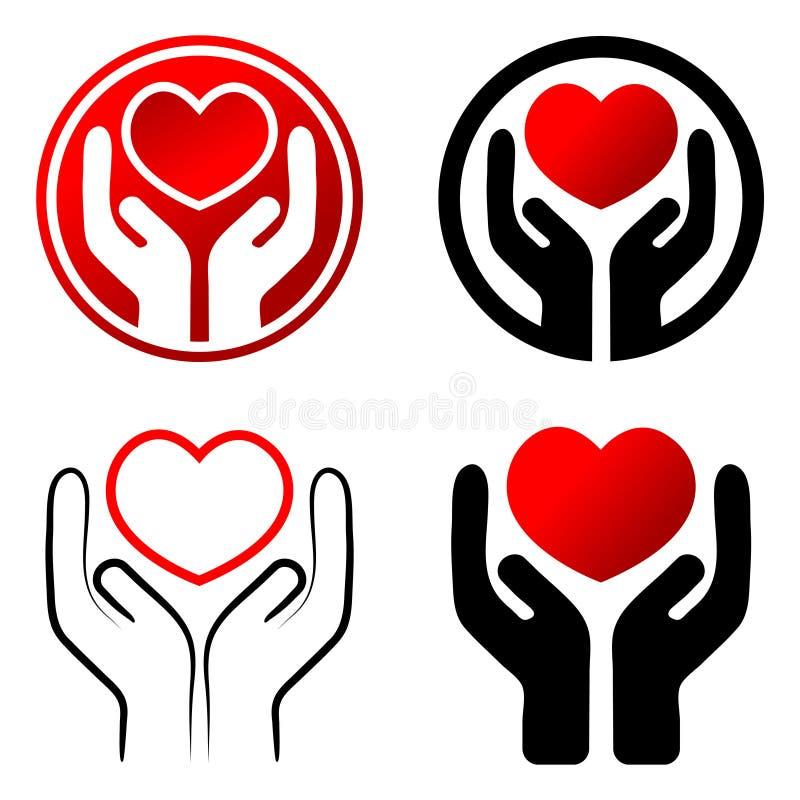 Röd hjärta räcker in stock illustrationer