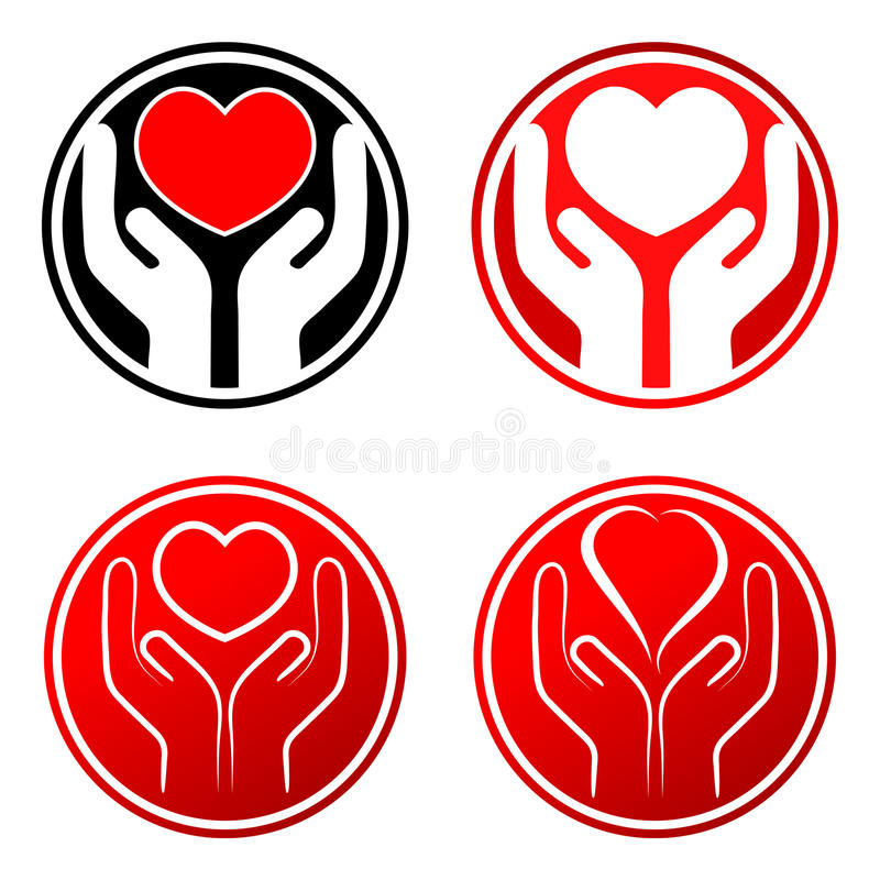 Röd hjärta räcker in royaltyfri illustrationer