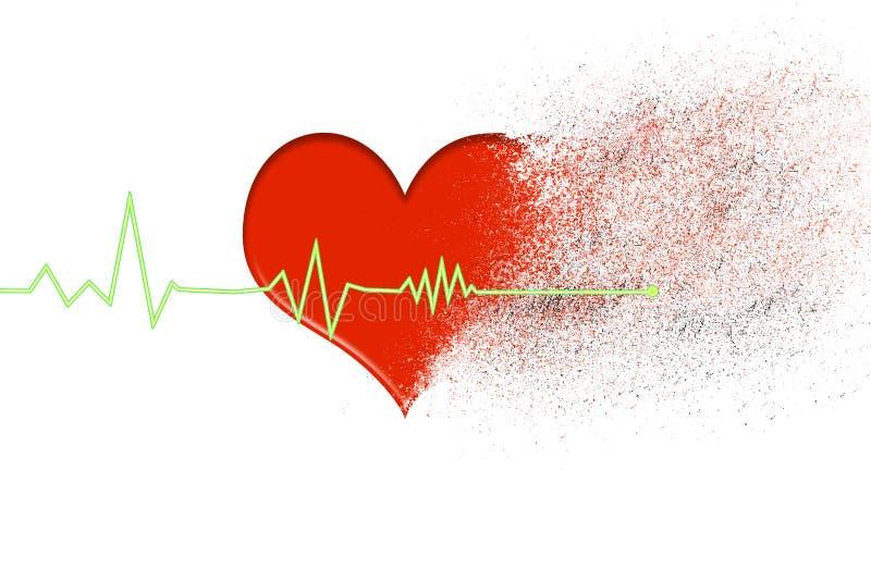 röd hjärta som desintegrerar in i damm med hjärtslaglinjen, som stoppar på en vit bakgrund royaltyfri fotografi