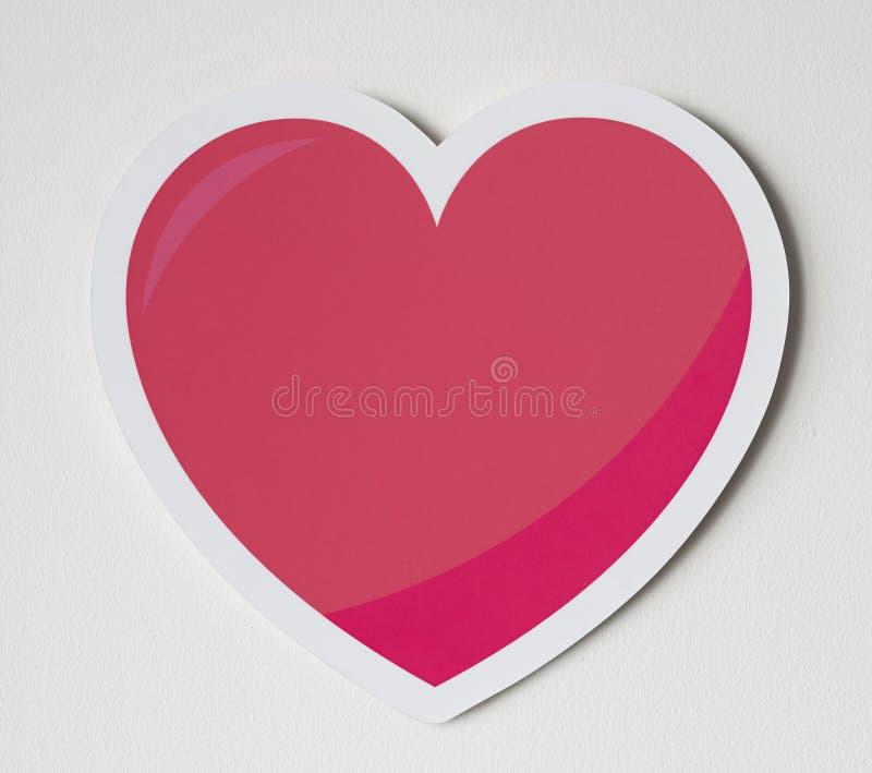 Röd hjärta som förälskelseromanssymbol stock illustrationer
