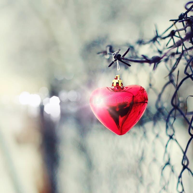 Röd hjärta som förses med en hulling - binda och belägga med metall flor arkivfoto