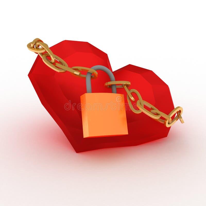 Röd hjärta som låsas med kedjan. Förälskelsebegrepp. Idén av valentin dag royaltyfri illustrationer