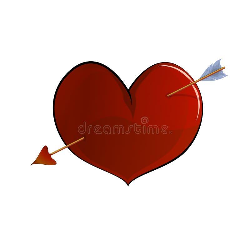 Röd hjärta, volymetrisk teckning royaltyfri illustrationer