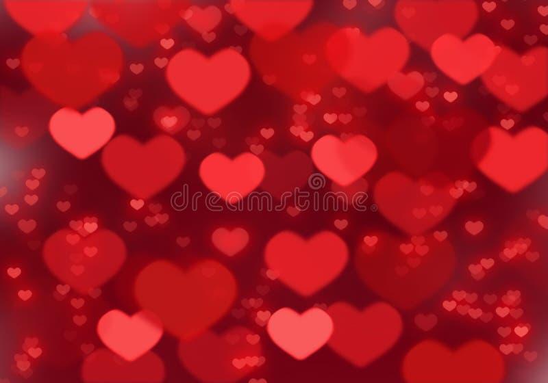Röd hjärtabakgrund; Bakgrund för dag för valentin` s stock illustrationer