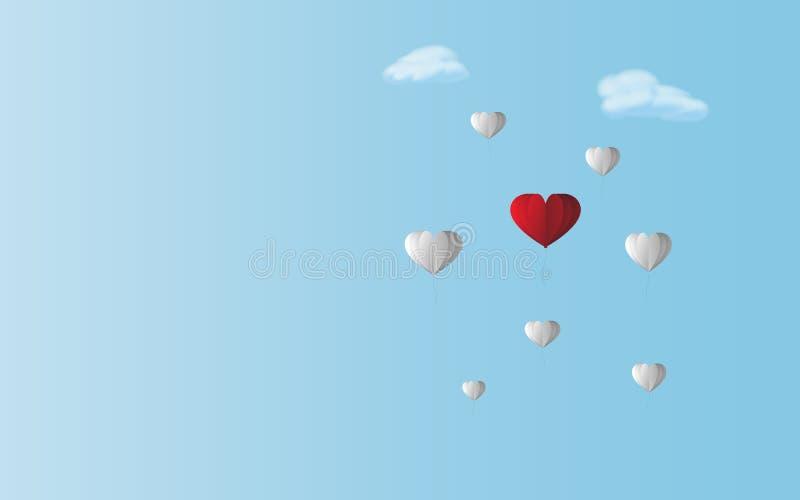 Röd hjärtaballong för förälskelse mellan vita ballonger i bakgrund för blå himmel Valentin- och partemakonstverk som är skillnad  royaltyfri illustrationer