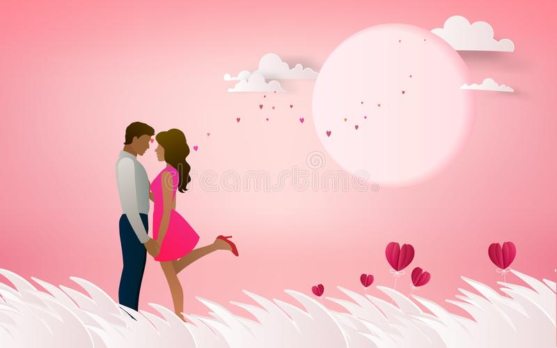 Röd hjärtablomma på rosa bakgrund med par som kysser på honen vektor illustrationer