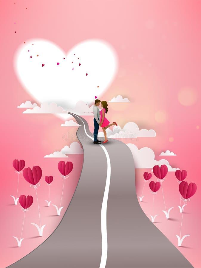 Röd hjärtablomma på rosa bakgrund med par som kysser på vägen vektor illustrationer