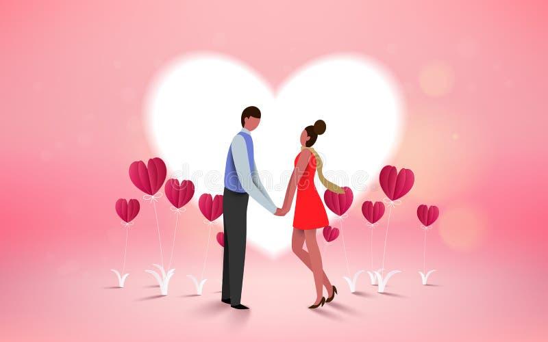 Röd hjärtablomma på rosa bakgrund med söta par på honeym vektor illustrationer