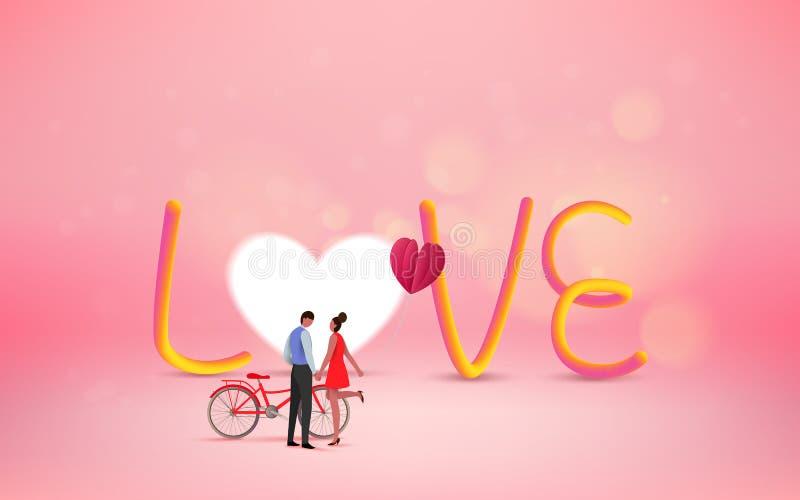 Röd hjärtablomma på rosa bakgrund med söta par på honeym royaltyfri illustrationer