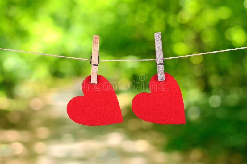 Röd hjärtaform som hänger, över den naturliga bakgrunden arkivbild
