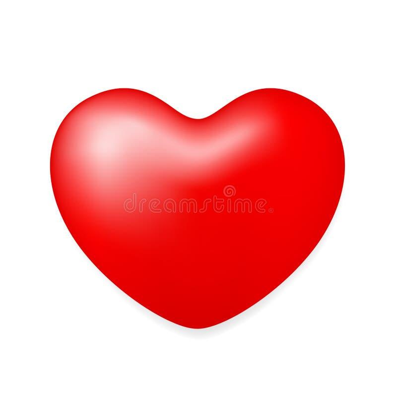 Röd hjärtaform som isolerades på vit bakgrund, röd hjärtaform för garnering för valentinkortbröllop, röd hjärta, formade ballonge royaltyfri illustrationer