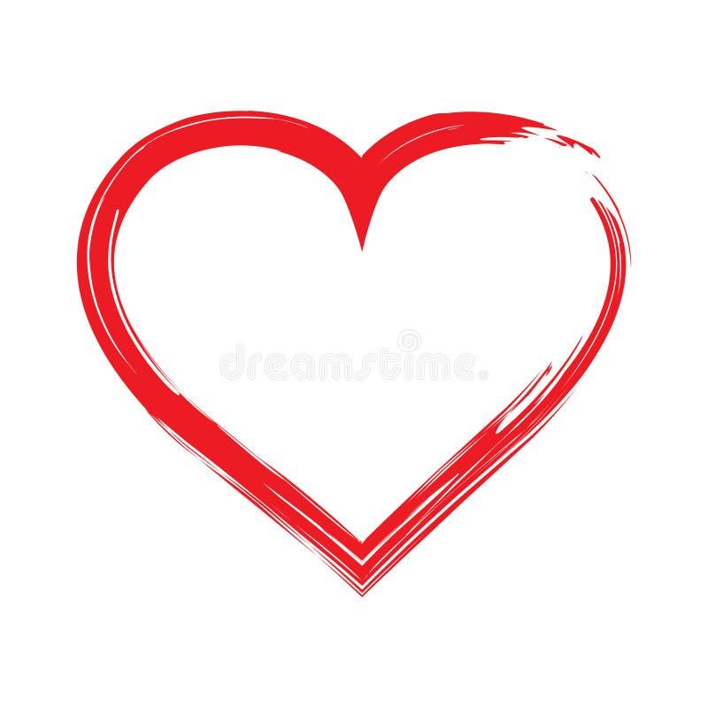 Röd hjärtaformram med borstemålning som isoleras på en vit bakgrund stock illustrationer