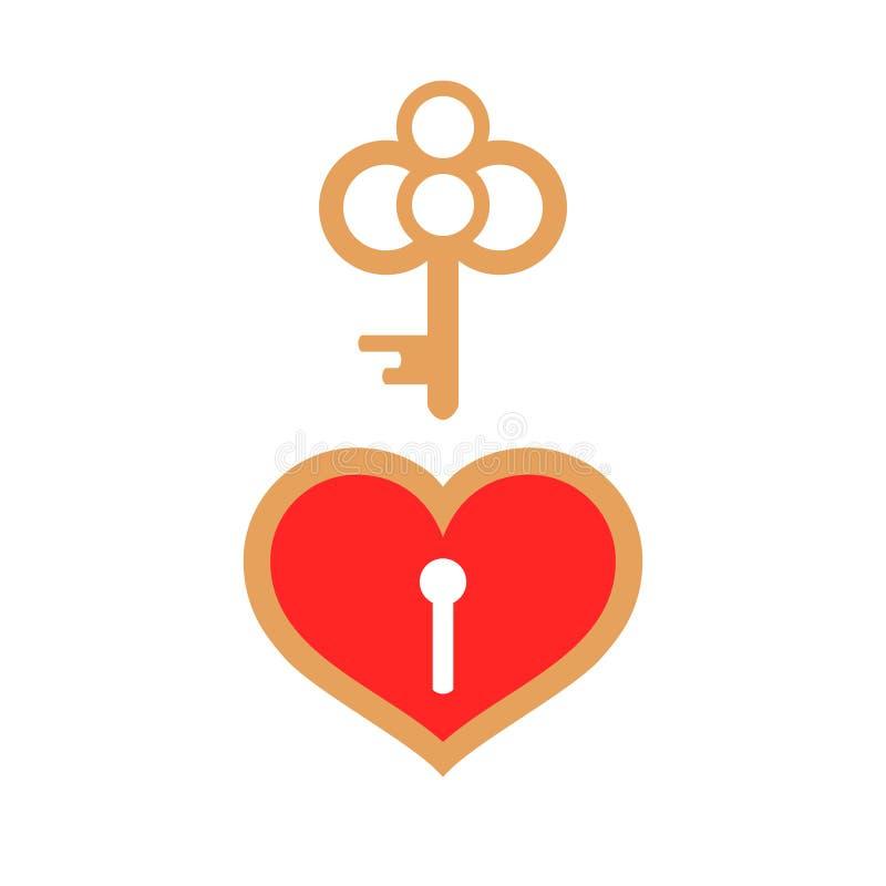 Röd hjärtahänglås och guld- tangent royaltyfri illustrationer
