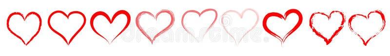 Röd hjärtalinje/avdelare stock illustrationer