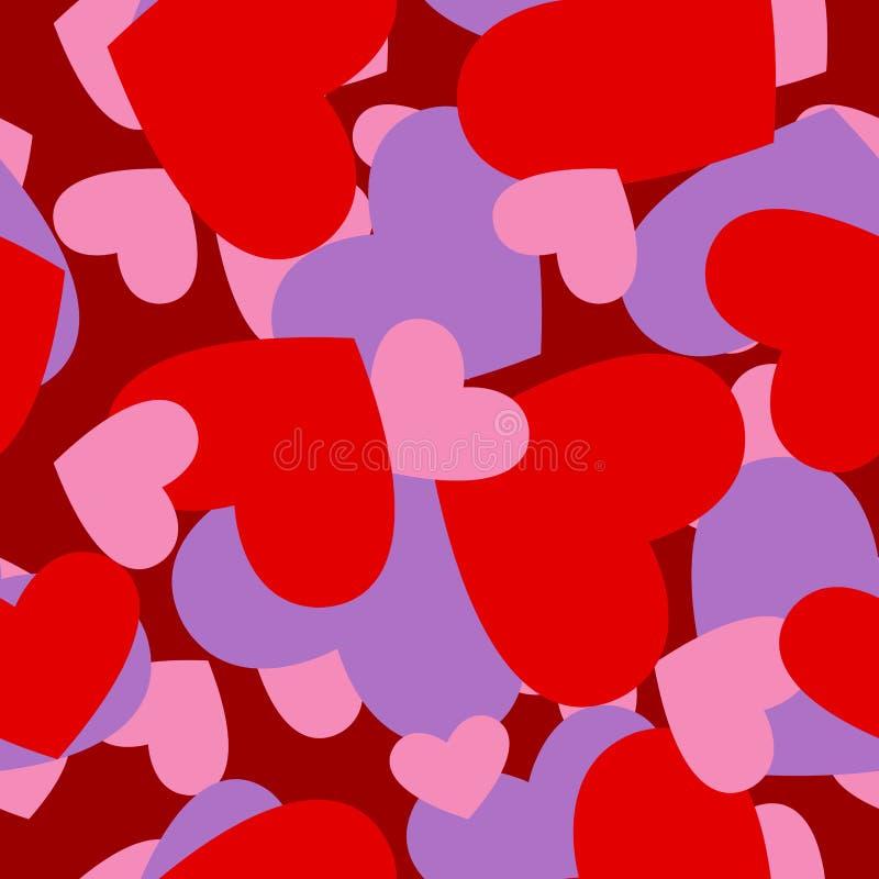 Röd hjärtamodell för armé Militär kamouflagevektortextur för V stock illustrationer