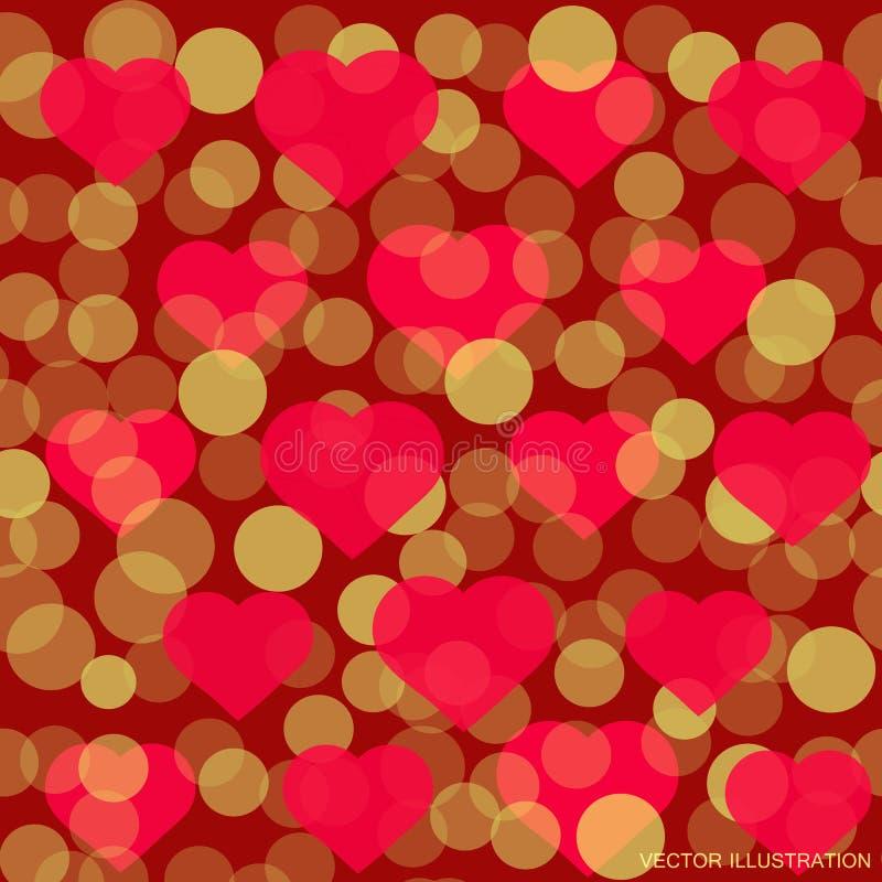 Röd hjärtamodell för design för Valentine Day hälsningkort Romantisk illustration för valentindag vektor royaltyfri illustrationer