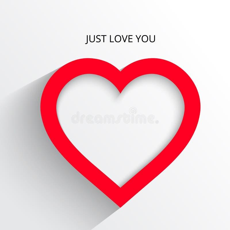 Röd hjärtapappersklistermärke med skuggaillustrationvykortet royaltyfri fotografi
