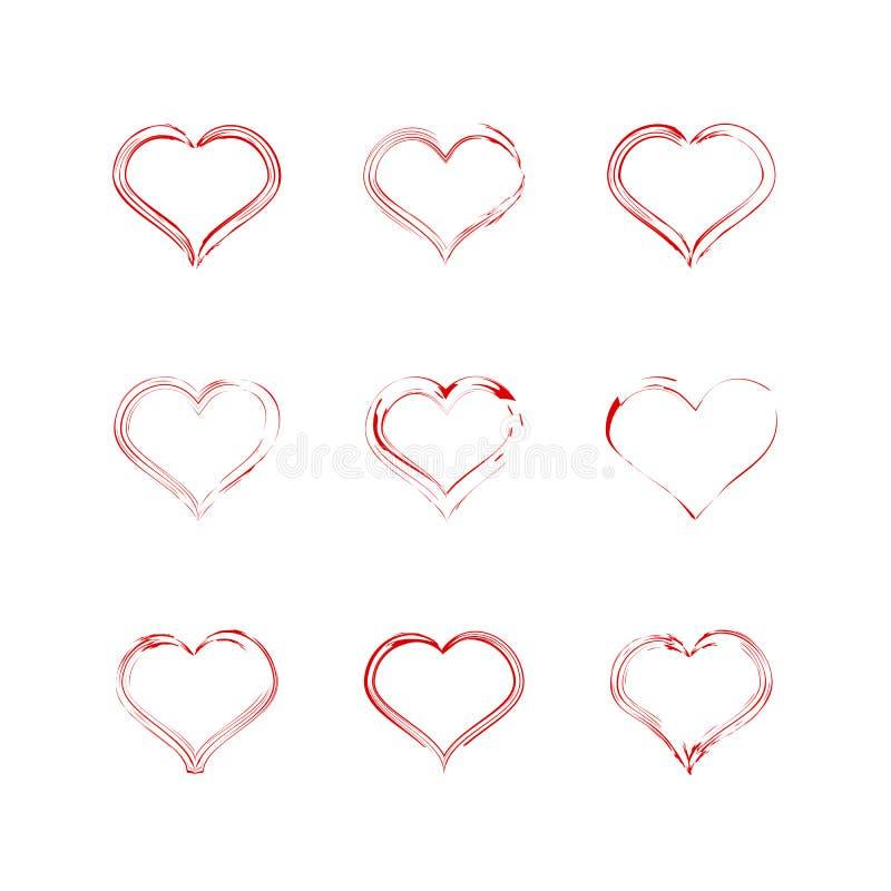 Röd hjärtasamlingssymbol, förälskelsesymbol Designbeståndsdelar för dag för valentin` s stock illustrationer